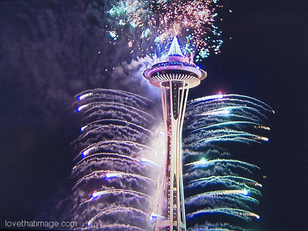 Fireworks at Seattle's Space Needle on New Year's Eve, bringing in 2015