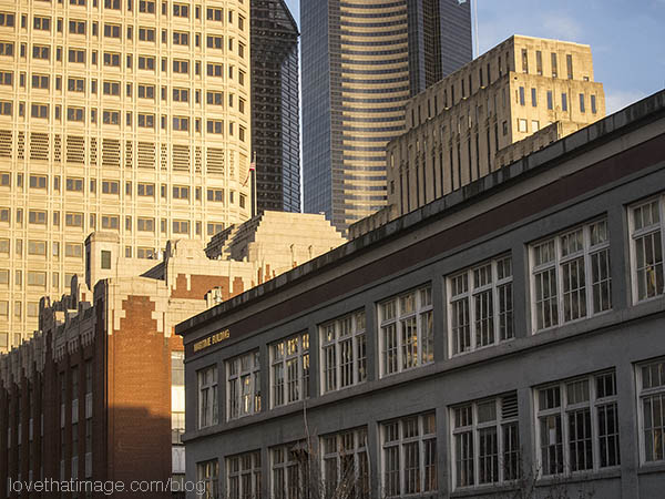 Seattle's Maritime Building in late afternoon winter sunlight