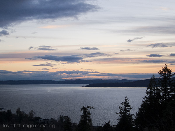 Evening draws nigh on a winter afternoon overlooking Puget Sound near Seattle
