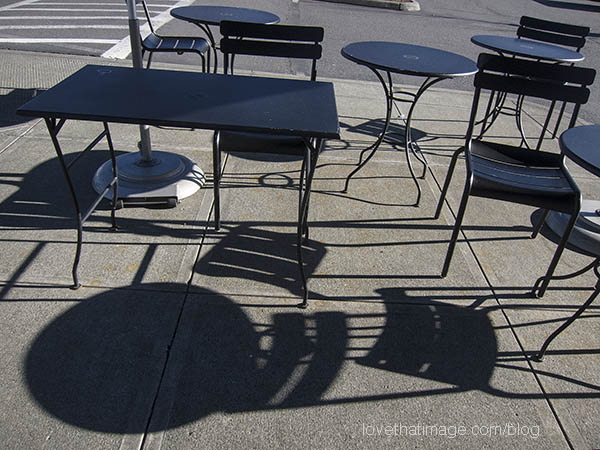 Outdoor furniture makes crisp shadows on a sunny winter day in Seattle