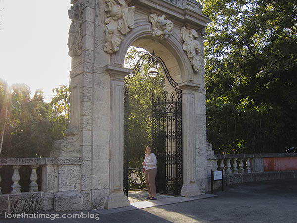 Arch with wrought iron gate at Vizcaya in Florida