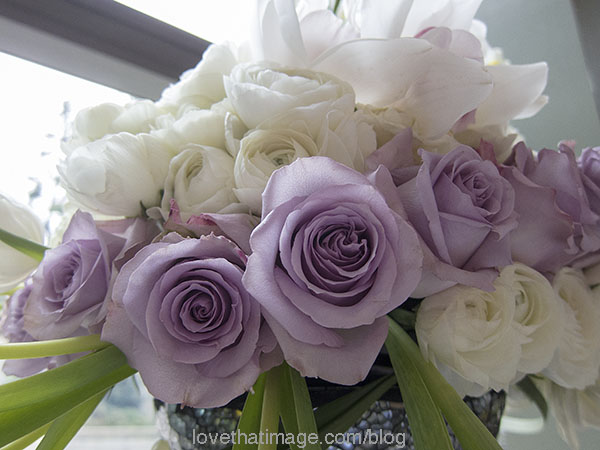 Lavender and white roses in a bouquet at Seattle's NW Flower & Garden Show.