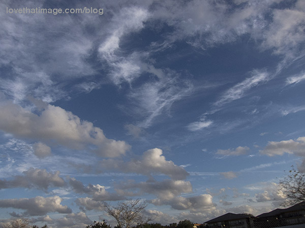 Layers of different kinds of clouds in the sky over Ft. Lauderdale, Florida