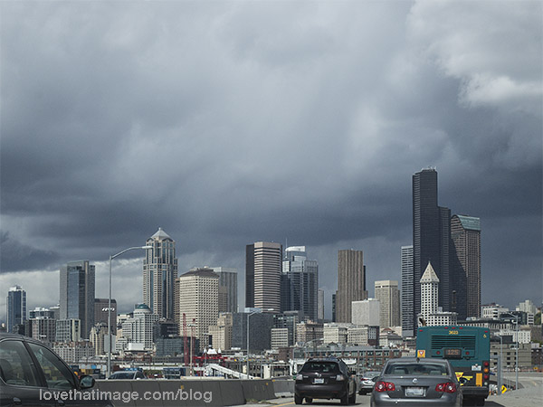 Plenty of rain in these clouds over the Seattle skyline
