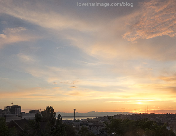Sunset sky in Seattle, with Space Needle