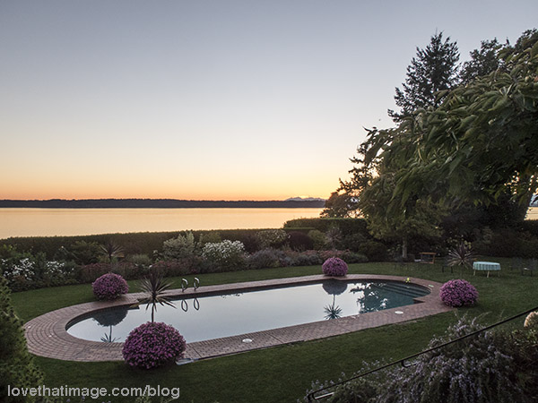 Sunset over Puget Sound and a reflecting pool