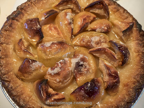 Freshly baked apple tart, French recipe.