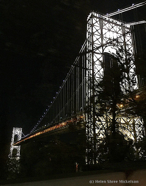 Fabulous night time lighting of the George Washington Bridge in New York City