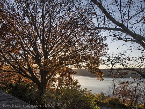 Sunset over the Hudson River from the Cloisters garden in New York City