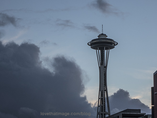 Rain clouds threaten at sunset in Seattle