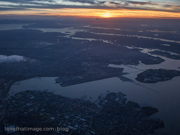 New York City at sunset from the air