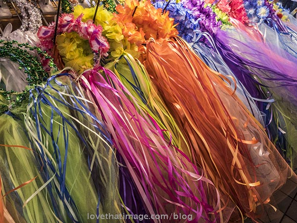 Rainbow display of ribbon crowns at Pike Place Market in Seattle