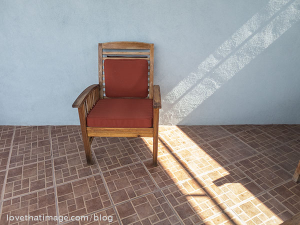 This is a chair on the highest level of the house, in a shaded area called the palapa