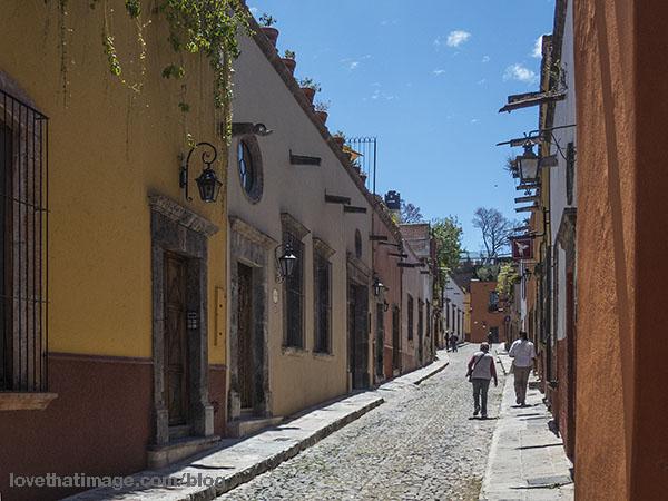 Narrow stone streets of San Miguel de Allende in Mexico