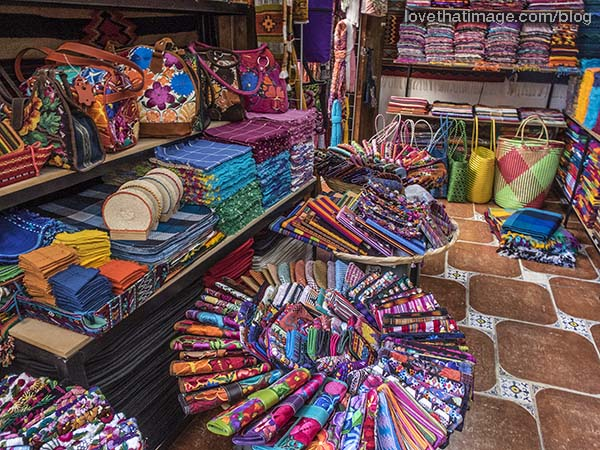 Dizzying array of colorful handcraft items for sale in San Miguel