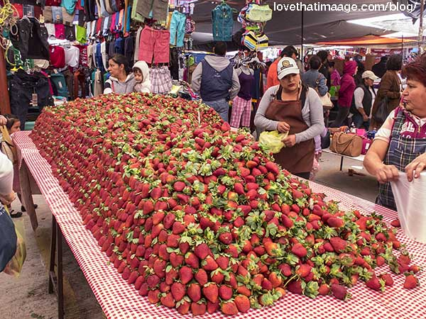A giant mound of fresh strawberries offered at the Tuesday Market in San Miguel