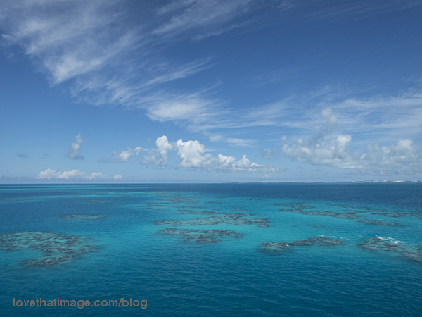 Coral reefs and turquoise water not far outside of Bermuda (UK)