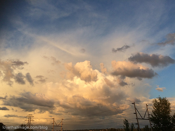Piles of clouds in late afternoon sky