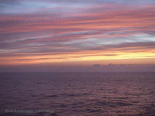 Sunset from our balcony on the Norwegian Cruise Line Breakaway, en route to Bermuda