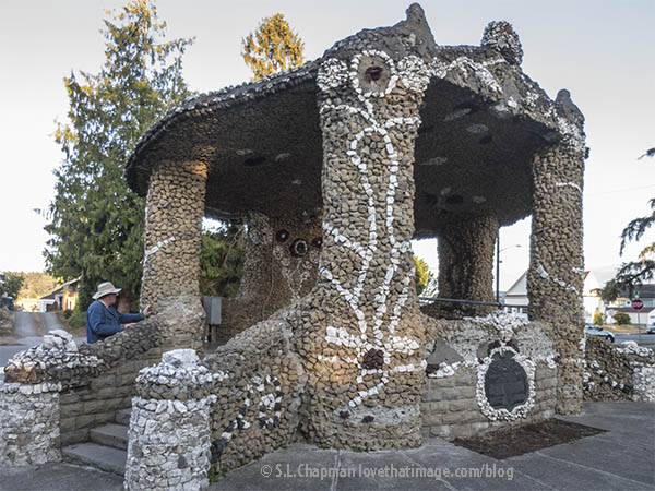 Remarkable rock mosaic structure at Causland Memorial Park in Anacortes, WA.