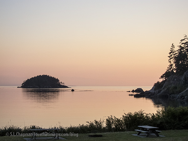 Pink sky and water at Deception Pass, Washington