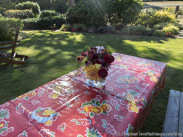 Cheerful red print oilcloth on the picnic table and a bouquet, all ready for guests