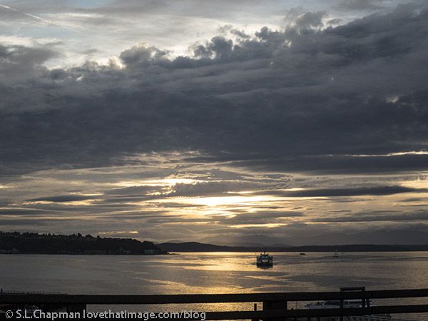 Dramatic sky over Puget Sound, looking west from the viaduct in Seattle