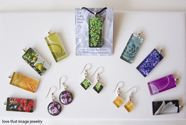 glass tile jewelry, flowers of volunteer park jewelry, paper and glass jewelry, fern necklace, hyacinth necklace